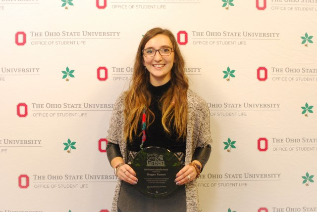 EEDS major Megan Fuerst Receiving the Scarlet, Gray & Green Student Leadership Award